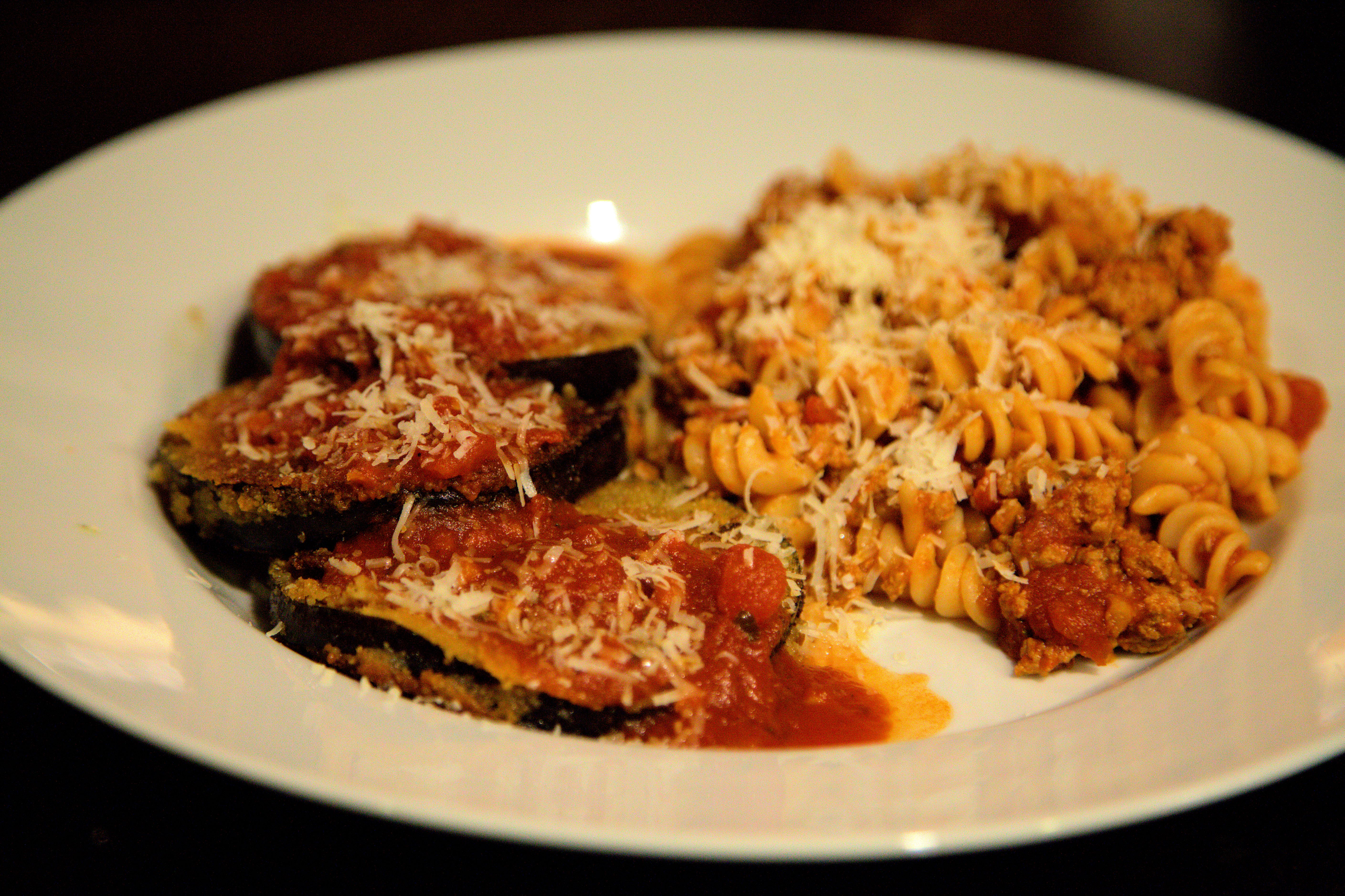 Gluten Free Flavorful Eggplant Parmesan with a side of Meat Sauce ...